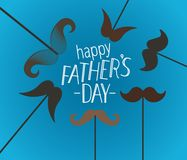 Happy fathers day greeting card with mustache. Lettering vector vector illustration