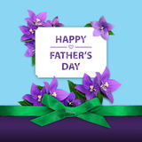 Happy Fathers Day. Greeting card with purple violet flowers, green ribbon on light blue and purple background royalty free stock image
