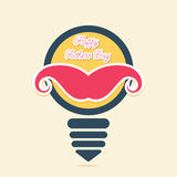 Happy fathers day greeting design , mustache placed on bulb concept Stock Image