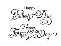 Happy Fathers Day greeting. Lettering card. Vector background with doodle neckties, bow tie and glasses. Stock Images
