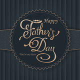 Happy Fathers Day greeting. Lettering card. Vector background with doodle neckties, bow tie and glasses. Royalty Free Stock Photo