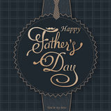 Happy Fathers Day greeting. Lettering card. Vector background with doodle neckties, bow tie and glasses. Stock Photos