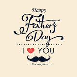 Happy Fathers Day greeting. Lettering card. Vector background with doodle neckties, bow tie and glasses. Stock Photography