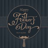 Happy Fathers Day greeting. Lettering card. Vector background with doodle neckties, bow tie and glasses. Royalty Free Stock Photography