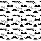 Happy Fathers Day greeting. Vector background with doodle neckties, bow tie and glasses Royalty Free Stock Image