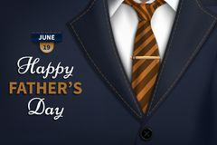 Happy Fathers Day greeting. Vector background with necktie,costume Good vector illustration Realistic vector beautiful cover. Happy Fathers Day greeting. Vector stock illustration