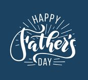 Happy Fathers Day. Hand drawn lettering for greeting card stock image