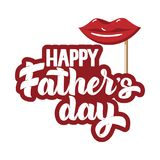 Happy Fathers day hand drawn lettering and beer, lips icon for greeting card, poster, banner, logo stock illustration