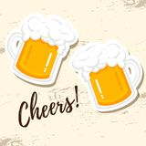Happy Fathers day hand drawn lettering and beer icon for greeting card, poster, banner, logo royalty free illustration