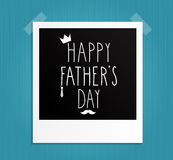 Happy Fathers Day hand drawn. Retro Photo Frame. Stock Photo