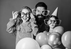 Happy fathers day. Happy family celebrating birthday party. Having a family celebration. Family party. Family of father stock photo