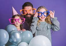 Happy fathers day. Happy family celebrating birthday party. Having a family celebration. Family party. Family of father. And daughters wearing party goggles royalty free stock image