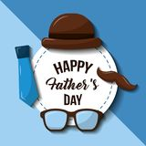 Happy fathers day hat glasses mustache and necktie retro style. Vector illustration Stock Photo