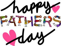 Happy Fathers Day Kids Title Text. Happy cartoon little stick girls and boys forming the holiday text title - Happy Fathers Day Stock Image