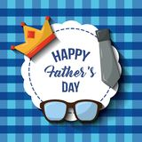 Happy fathers day label glasses crown necktie blue checkered pattern. Vector illustration Royalty Free Stock Photos