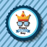 Happy fathers day label glasses crown striped blue background. Vector illustration Stock Images