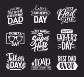 Happy Fathers Day lettering calligraphic compositions. Hand drawn inscriptions on dark background for greeting card. My vector illustration