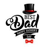 Happy Fathers Day. Fathers Day Lettering Calligraphic Design  on White Background. Best Dad Inscription with fedora and bow tie. Vector Design Element For Stock Photo