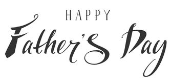 Happy Fathers Day. Lettering hand writing text. Isolated on white vector illustration stock illustration