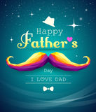 Happy fathers day mustache colorful geometric vector illustration