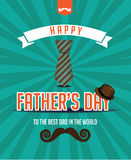 Happy Fathers Day mustache fedora design. Royalty Free Stock Photo