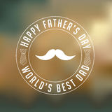 Happy Fathers Day mustache insignia design on blurred background Stock Image