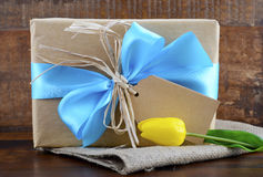 Happy Fathers Day Natural Kraft Paper Gift stock photo
