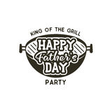 Happy Fathers day party label. Vintage design. father day Holiday grill and bbq party emblem isolated on scratched Royalty Free Stock Photos