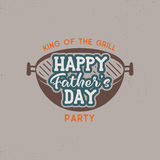 Happy Fathers day party label. Vintage design. Holiday grill and bbq party emblem isolated on white background. Stock Royalty Free Stock Image