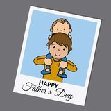 Happy fathers day. Photo child uploaded to the shoulders of daddy Stock Image