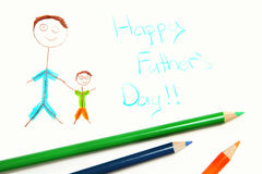 Happy Fathers Day Picture. Kid's happy fathers day drawing and color pencils over white royalty free stock images