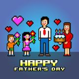 Happy fathers day pixel art style vector illustration Royalty Free Stock Photos
