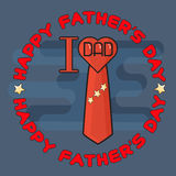 Happy Fathers day poster. I love Dad. Heart, tie. Stock Photos