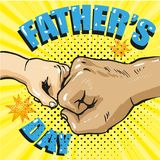 Happy fathers day poster in retro comic style. Pop art vector illustration.  Stock Image