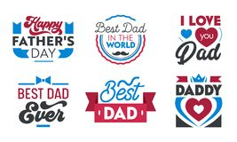Happy Fathers Day Set of Emblems, Labels, Icons and Signs with Typography for Greeting Cards, Banners, T-shirt or Logo Design vector illustration