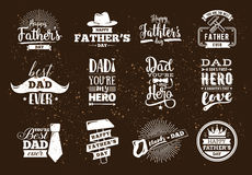 Happy fathers day set. Vector typography. Royalty Free Stock Images
