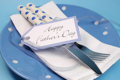 Happy Fathers Day table place setting close up Stock Photo
