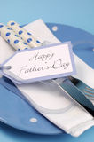 Happy Fathers Day table place setting close up - vertical. Stock Images