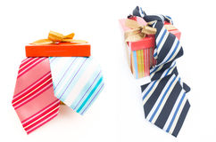 Happy Fathers Day tag with gift boxes and tie Royalty Free Stock Images