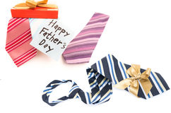 Happy Fathers Day tag with gift boxes and tie Stock Photo