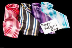 Happy Fathers Day tag with neckties Royalty Free Stock Photos