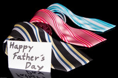 Happy Fathers Day tag with neckties Stock Image