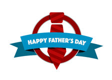 Happy Fathers day tie seal illustration design Royalty Free Stock Photo
