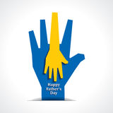 Happy fathers day with two hands of mother and chi Stock Photography