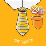 Happy fathers day vector cartoon greeting card Stock Photos