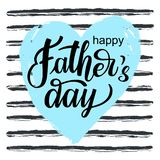 Happy Fathers day vector greeting card on heart stock illustration