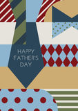 Happy Fathers day, vector greeting card. Multicolor necktie and Royalty Free Stock Photos