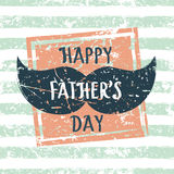 Happy Fathers day, vector greeting card. Stripe seamless pattern. With square grunge frame and mens mustache. Abstract background Stock Images