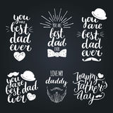 Happy Fathers Day vintage logotypes set. Vector calligraphy collection, You Are Best Dad Ever, Love Me Daddy etc. Royalty Free Stock Image