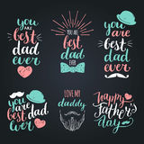 Happy Fathers Day vintage logotypes set. Vector calligraphy collection, You Are Best Dad Ever, Love Me Daddy etc. Happy Fathers Day vintage logotypes set Royalty Free Stock Images